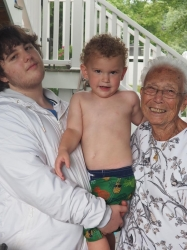 Robert Kopasz, Noah Riccardelli, and Gloria Tucci on Gloria's 90th birthday